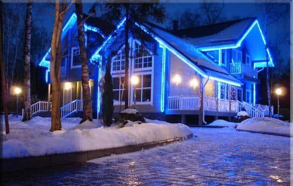 Применение LED профилей для контурной подсветки зданий